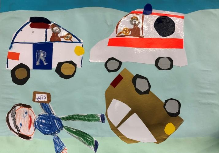 Gyerekrajzokon a biztonságos közlekedés