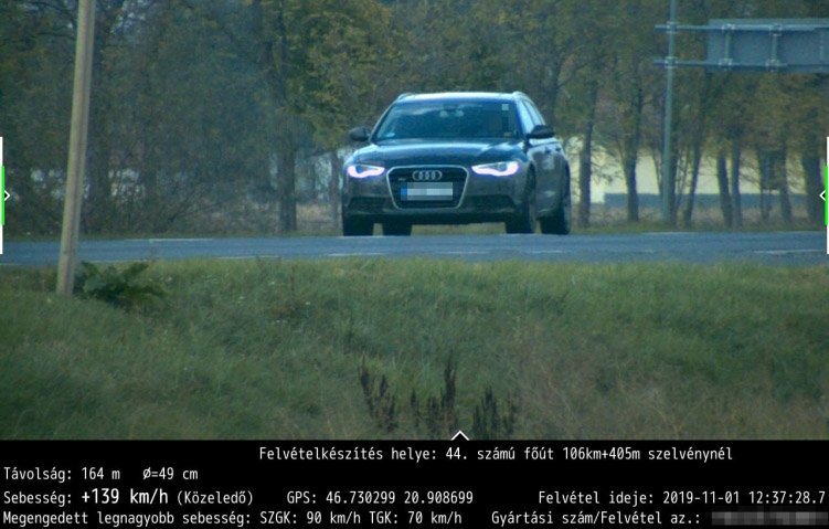 Közel 140 km/h-val mérte be a traffipax a 44-es számú főúton