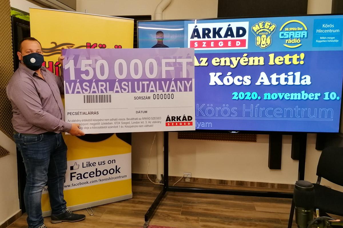 A játéksorozat újabb nyertese vette át az Árkád Szeged utalványait