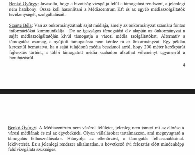 Szente Béla és Benkó György párbeszéde - Jegyzőkönyv