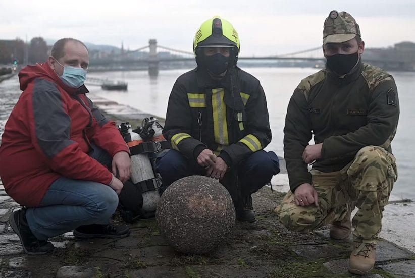 kőgolyó, ágyúgolyót találtak a Dunában