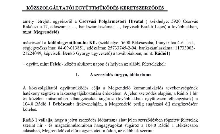 Benkó György szerződés - Csorvás