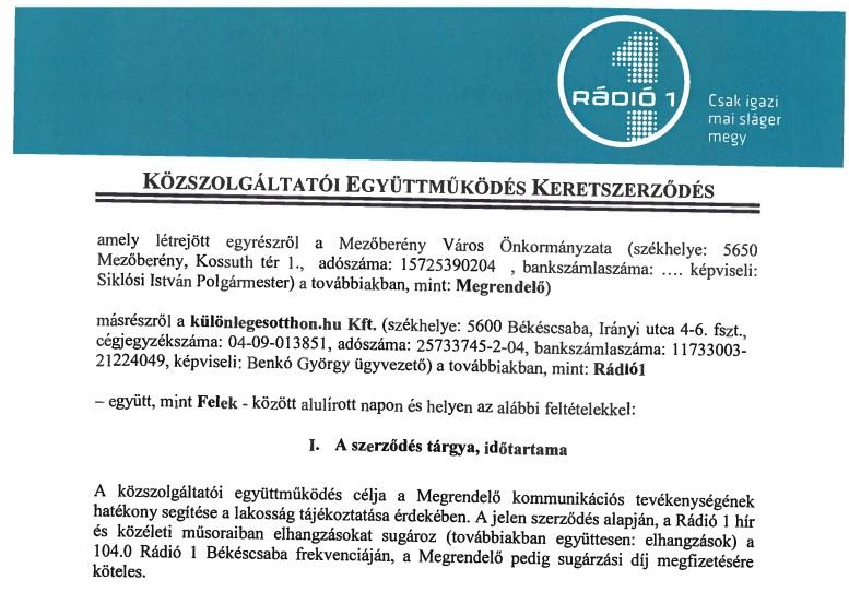 Benkó György szerződés - Mezőberény