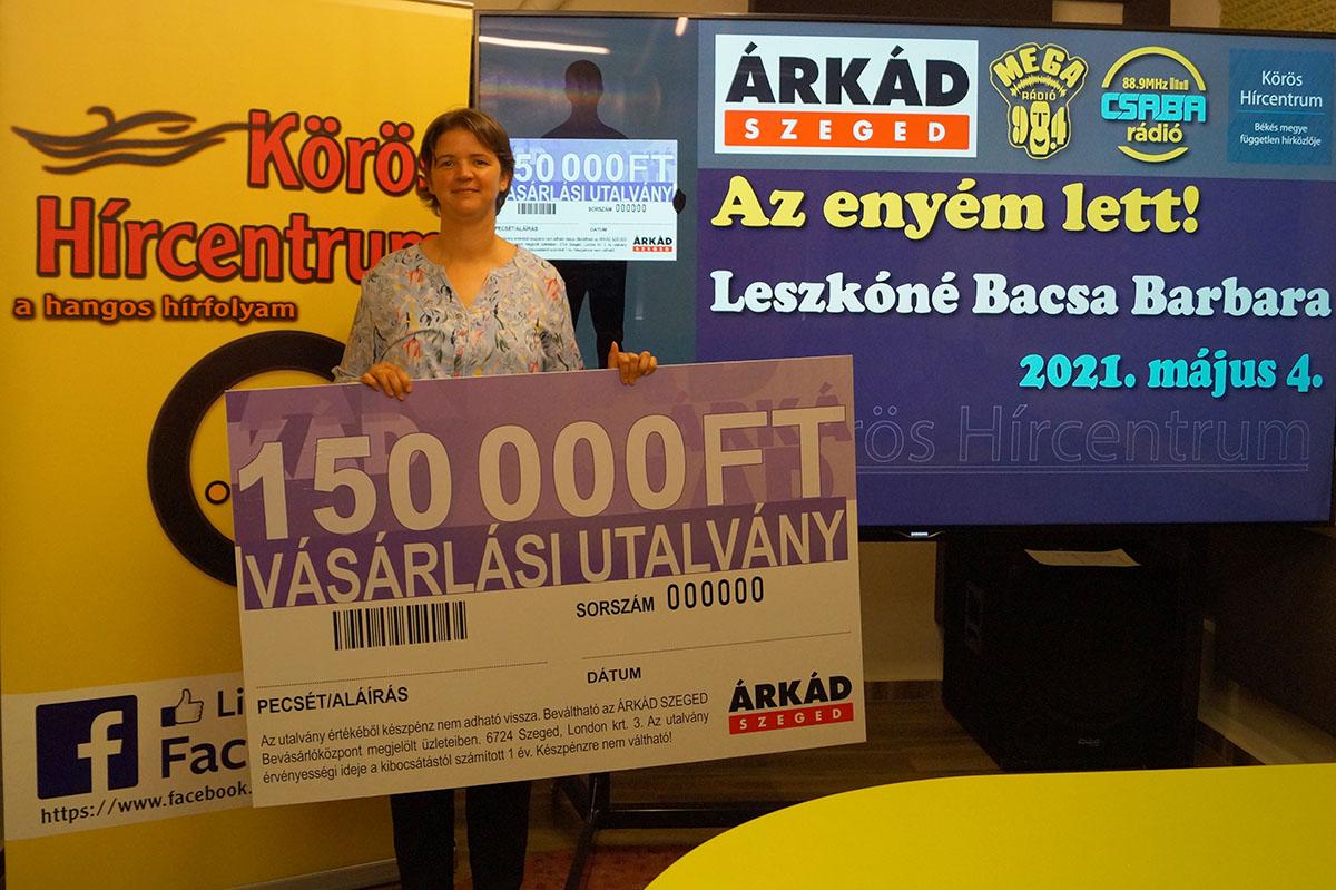 Átadtuk az Árkád Szeged 150.000 forint értékű vásárlási utalványát!
