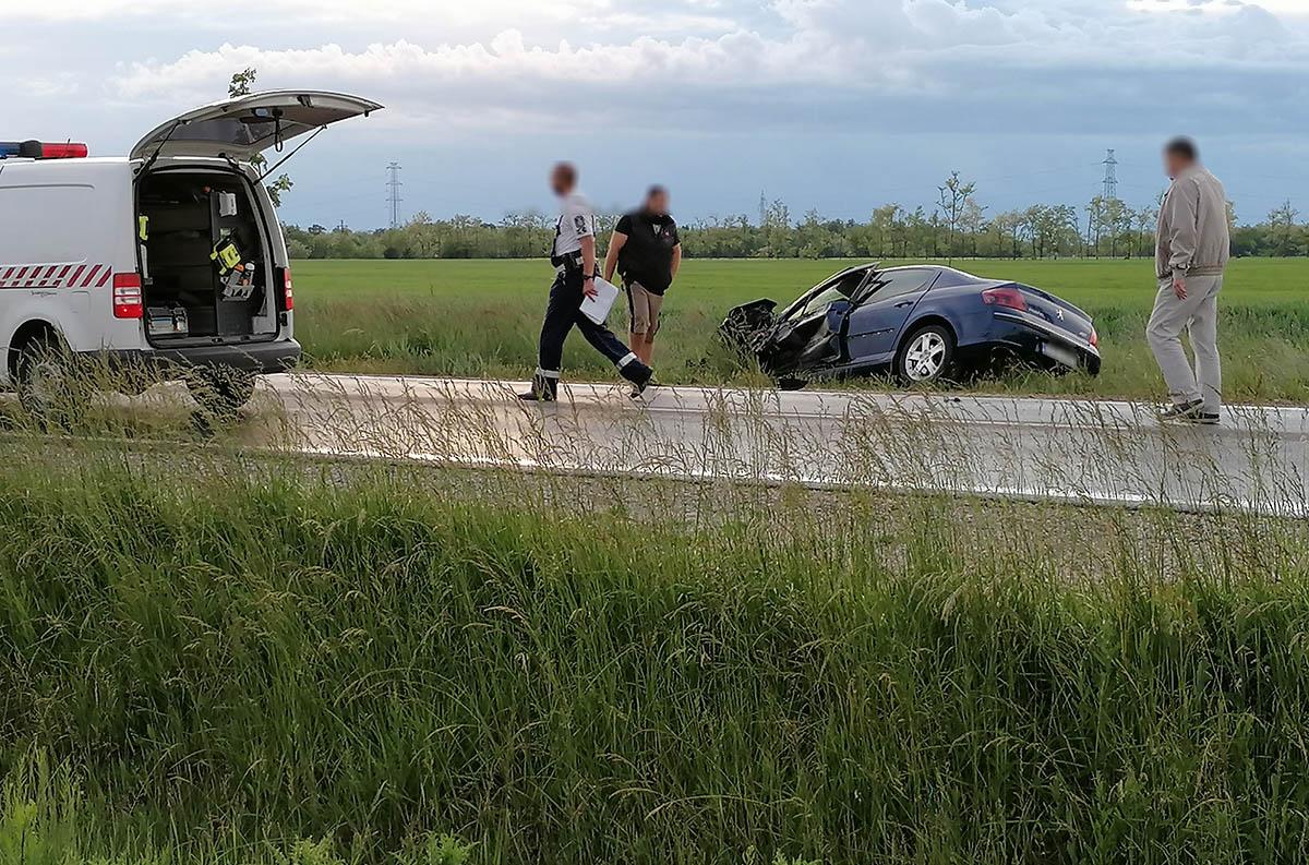 baleset a 47-es főúton Csorvásnál