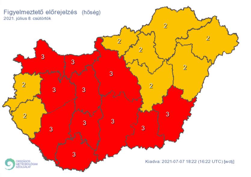 Az ország nagy részére harmadfokú figyelmeztetést adott ki a meteorológiai szolgálat